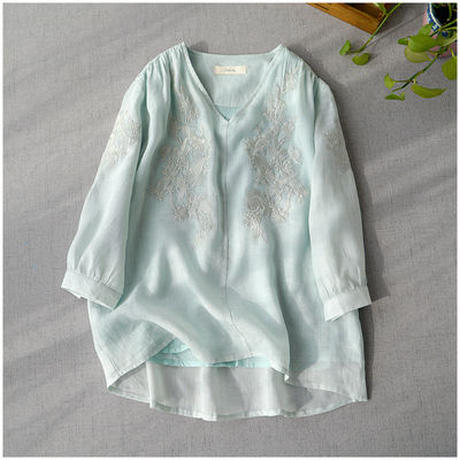ペールトーン カラー ブラウス シャツ 花柄 刺繍 薄手 七分袖 ゆったり ラミー  0011