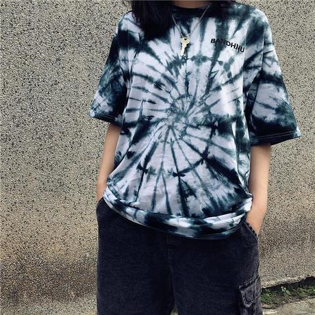 タイダイ 柄 Tシャツ 五分袖 緑 紫 ゆったり 0246