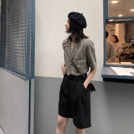 ジャケット コーデ レディース 半袖 カーキ 黒 2色 0375