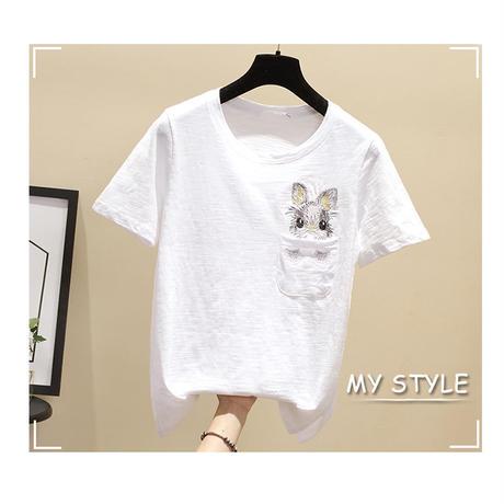 刺繍 柄 Tシャツ ウサギ 大きいサイズ  半袖 3色選択 0006