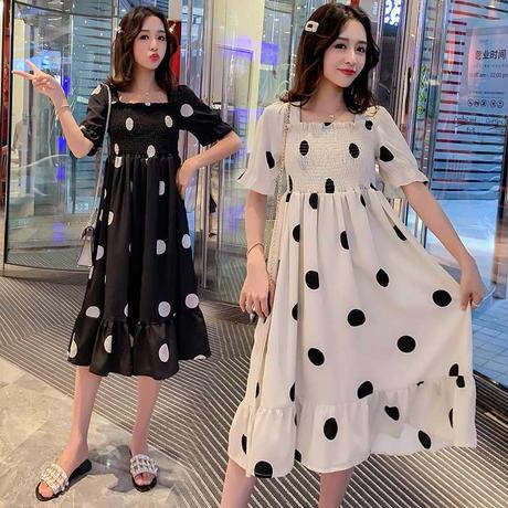 水玉 柄 ドレス ハイウエスト 五分袖 ミディ丈 大きいサイズ アプリコット 黒 2色選択 0038