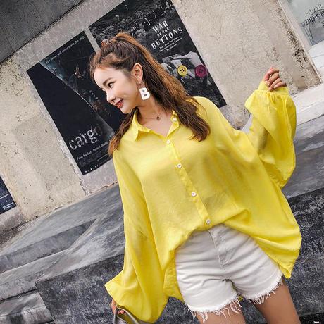 ネオン 色 オーバーサイズ シャツ 長袖 薄手 パープル イエロー ホワイト 0139