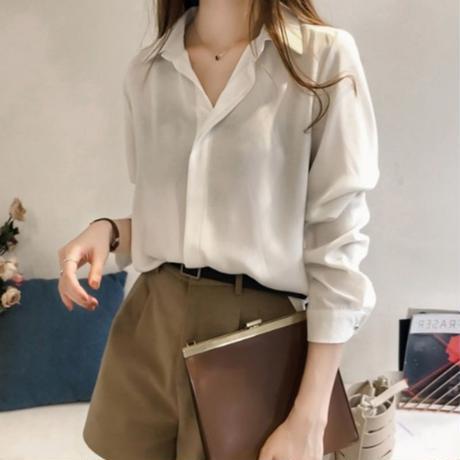 スモーキー カラー シャツ モノトーン 長袖 白 黒 アプリコット  ブルー 4色 0354