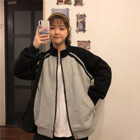 スポーティ ファッション ジャケット スウェット グレー 黒 0388