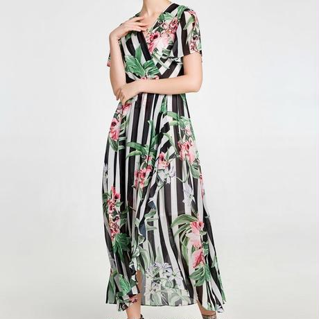 花柄 デザイン ドレス ストライプ Vネック ミディ丈 0097
