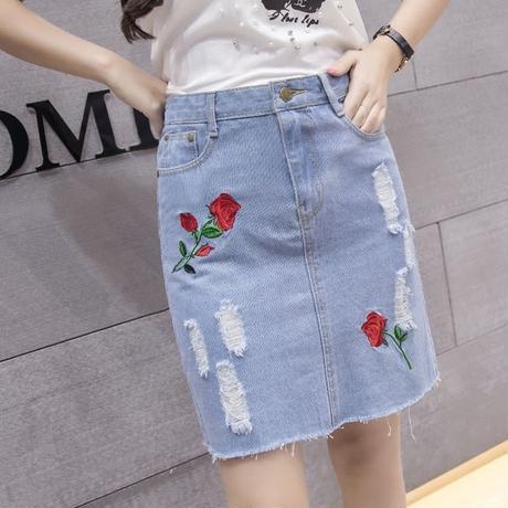 ペールトーン カラー デニム ミニスカート 刺繍 大きいサイズ 2色選択 0108