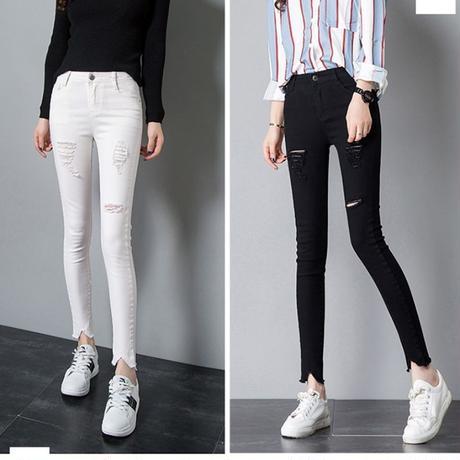 スキニー ファッション パンツ デニム ダメージ加工 大きいサイズ 0261