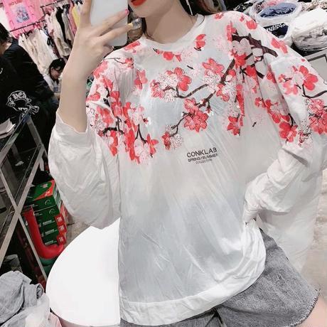 花柄 デザイン シャツ 長袖 ラウンドネック ホワイト グレー 2色選択 0100
