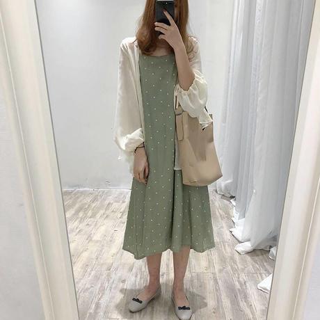 水玉 柄 ツーピース グレー+ホワイト ホワイト+グリーン  0044長袖 大きいサイズ