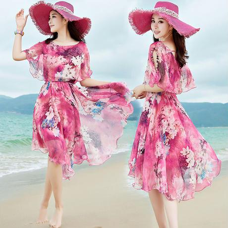 タイダイ 柄 ドレス 花柄 大きいサイズ 五分袖 ミディ丈 ピンク ブルー 0250