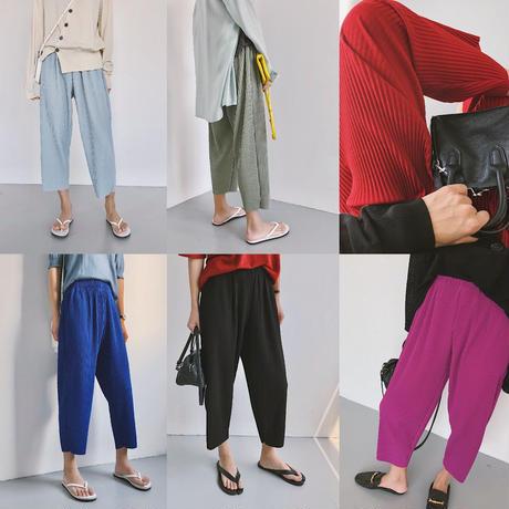 夏 ファッション クロップドパンツ ワイド ハイウエスト 6色選択 0079