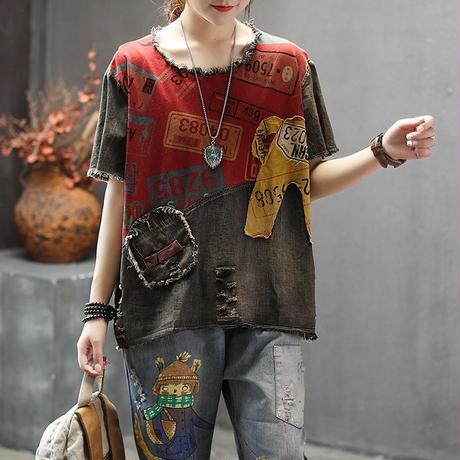 デニム 夏 Tシャツ 半袖 ラウンドネック 赤 黄 2色 0184