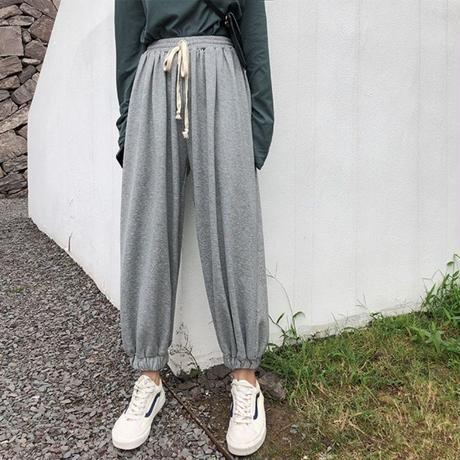 スウェット ファッション パンツ ゆったり ウエストゴム アンクル丈 3色 0357