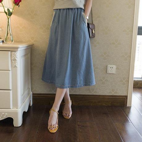 ペールトーン カラー スカート デニム ブルー Aライン ミディ丈 130
