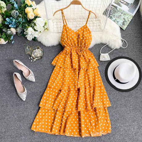 水玉 柄 ドレス フリル スリング ノースリーブ 4色選択 0017