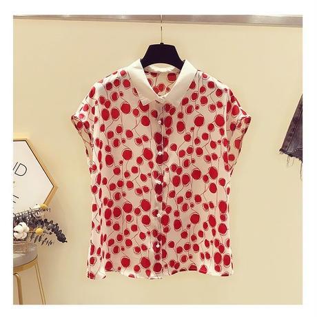 水玉 柄 シャツ フレンチスリーブ 赤 黒 0046