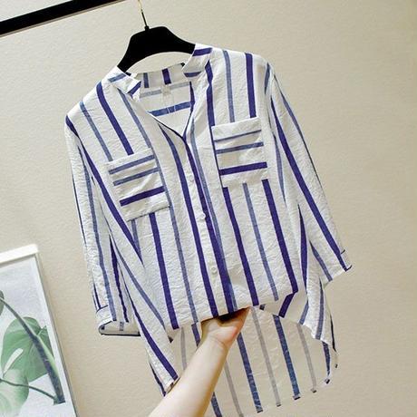 ストライプ 柄 シャツ 七分袖 大きいサイズ 赤 青 2色選択 0146