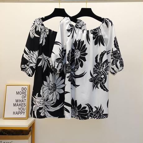 花柄 デザイン シャツ ストラップレス 白 黒 2色選択 0117