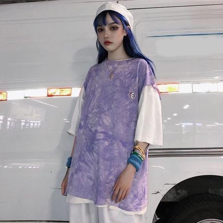 タイダイ 柄 Tシャツ ノースリーブ グレー パープル 2色 0244