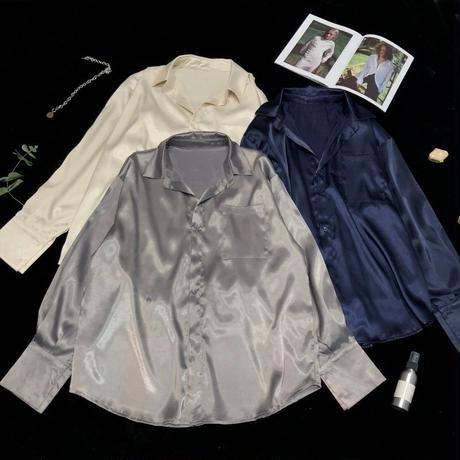 オーバーサイズ ファッション シャツ サテン 長袖 グレー ブルー アプリコット 3色 0194