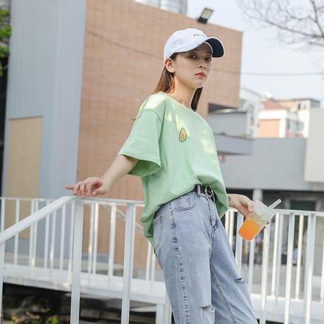 ペールトーン カラー Tシャツ アボガド ゆったり 白 グリーン アプリコット 0115