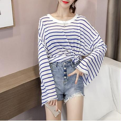 オーバーサイズ ファッション シャツ ストライプ 黒地 白地 赤 青 4色 0153