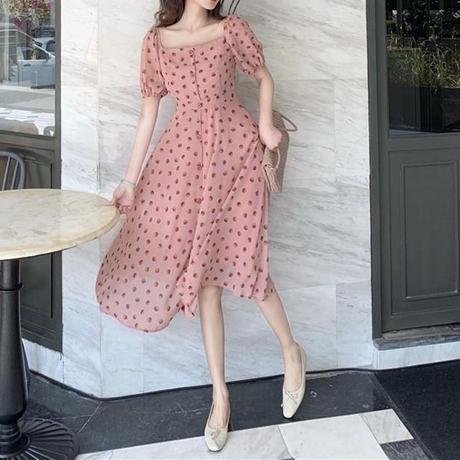 水玉 柄 ドレス ピンク ロング パフスリーブ  0050