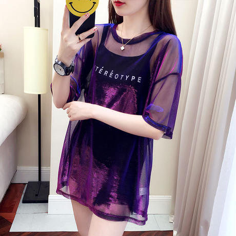 シースルー トップス コーデ セットアップ 大きいサイズ 紫2色 0303
