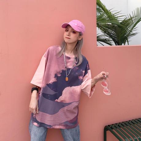 タイダイ 柄 Tシャツ ピンク 白 七分袖 オーバーサイズ 0245