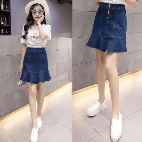 デニム ファッション 夏 ミニスカート フリル インディゴ 大きいサイズ 0109