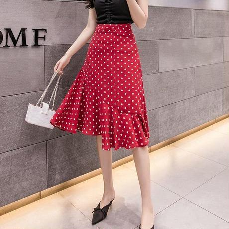 水玉 柄 スカート ミモレ丈 赤 黒 白 3色選択 0095