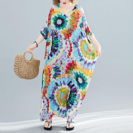 タイダイ 柄 ドレス 五分袖 オーバーサイズ 花柄 ロング 0238
