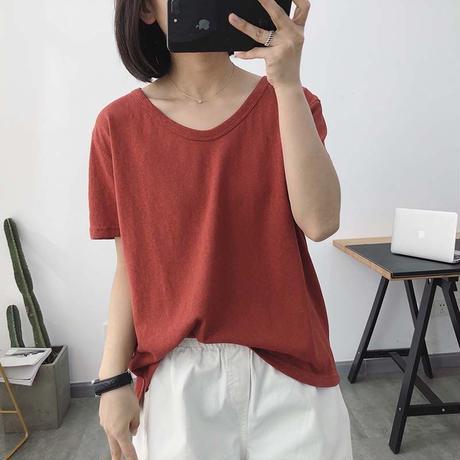 ペールトーン カラー Tシャツ 半袖 Vネック ゆったり 6色選択 0126