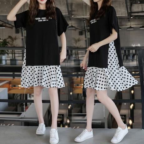 水玉 柄 黒 ワンピース セットアップ風 半袖 ミディ丈 ゆったり 大きいサイズ 0029