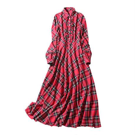 タータンチェック 赤 長袖 ロング ドレス 襟付き 0025