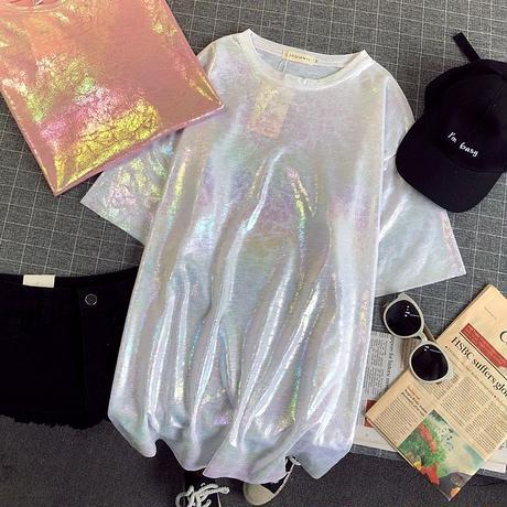 タイダイ 柄 Tシャツ 半袖 光沢 レインボー 白 ピンク 2色 0247
