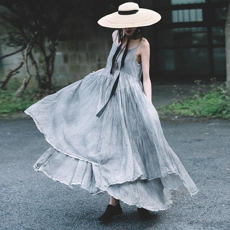 タイダイ 柄 ドレス フレア ティアード ノースリーブ ロング  0240