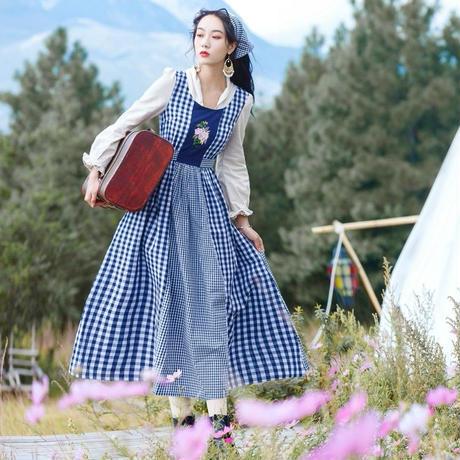 ギンガムチェック 青 ワンピース 長袖 刺繍 ステッチ 0002