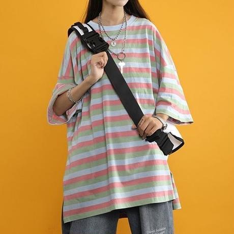 ストライプ 柄 Tシャツ 大きいサイズ ダークグリーン ホワイトグリーン ブルーレッド 3色選択 0148