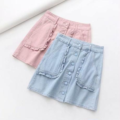 ペールトーン カラー スカート デニム ショート ブルー ピンク 2色選択 0080