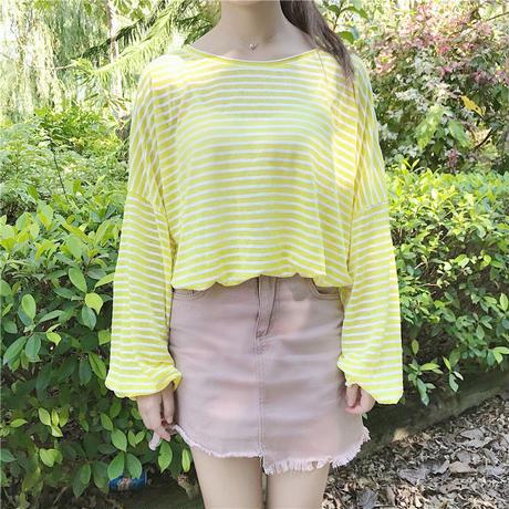 ストライプ 柄 シャツ シースルー 日焼け防止 白 黄 黒 3色 0154