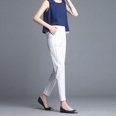 ストライプ 柄 パンツ ハイウエスト 大きいサイズ 白 黒 2色選択 0156
