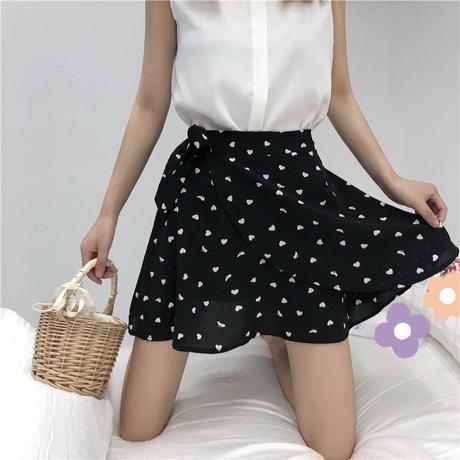 水玉 柄 スカート リボン ハイウエスト ミニ 白 黒 2色選択 0096