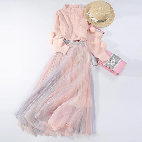 グラデーション カラー スカート ロング 青/ピンク ピンク/白  ピンク/青 青/白 4色 0385