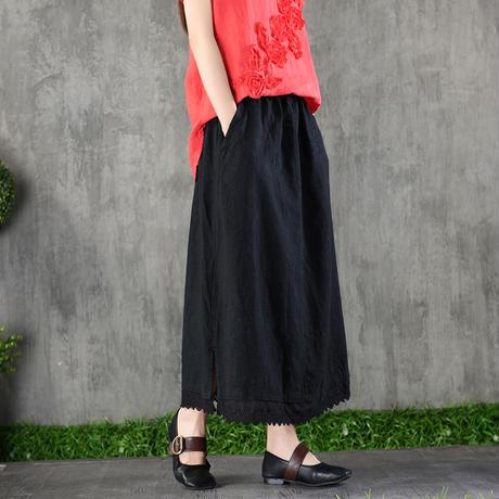 アースカラー コーデ スカート ロング Aライン レトロ 黒 紺 薄茶 ブラウン 4色  0230