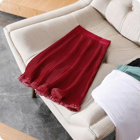 レースかわいい スカート プリーツ ミディ丈 Aライン 赤 ミント 白 黒 0231