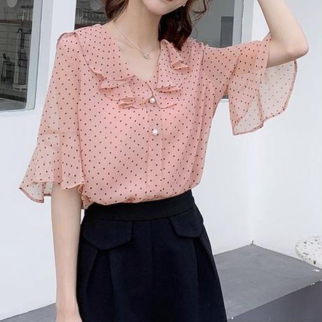 水玉 柄 シャツ Vネック 白 ピンク 半袖 長袖 選択可 0089