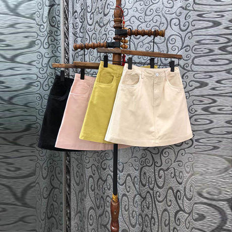 ペールトーン カラー スカート ショート 4色選択 0088
