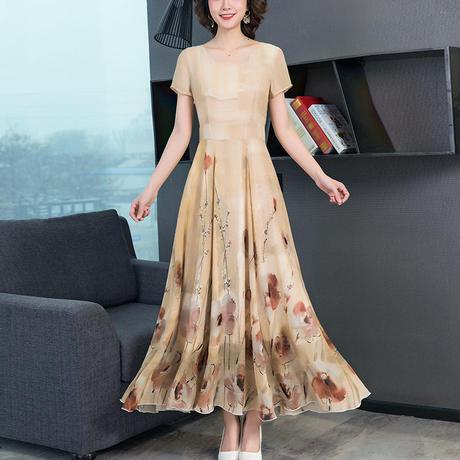 花柄 デザイン ドレス ロング Vネック Aライン ベージュ 0102 グリーン 2色選択
