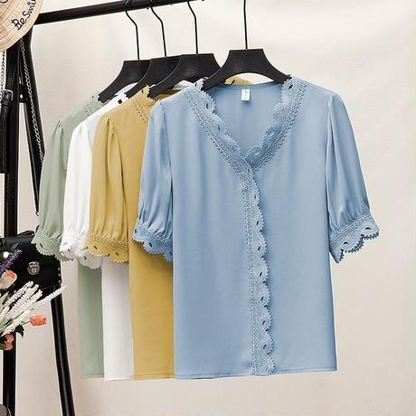 レース 柄 シャツ 半袖 大きいサイズ 白 青 黄 緑 4色 0211